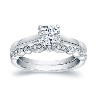 14k Gold Vintage Stackable 3/4ct TDW Solitaire Cushion-Cut Diamond Engagement Ring Set by Auriya