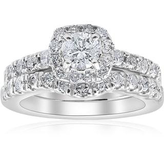 Pompeii3 14k White Gold 1 1/4 ct TDW Cushion Halo Diamond Engagement Wedding Ring Set