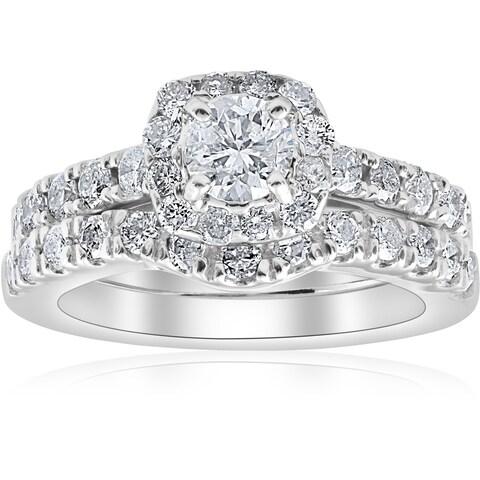 Bliss 14k White Gold 1 1/4 ct TDW Cushion Halo Diamond Engagement Wedding Ring Set