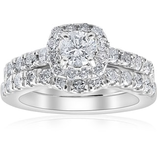 Bliss 14k White Gold 1 1/4 ct TDW Cushion Halo Diamond Engagement Wedding Ring Set