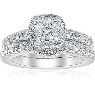 Bliss 14k White Gold 1 1/4 ct TDW Cushion Halo Diamond Engagement Wedding Ring Set (More options available)