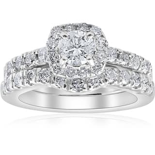 Bliss 14k White Gold 1 4 Ct TDW Cushion Halo Diamond Engagement Wedding Ring