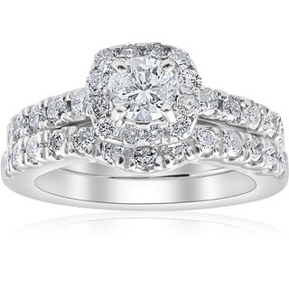Bliss 14k White Gold 1 1/4 Ct TDW Cushion Halo Diamond Engagement Wedding  Ring