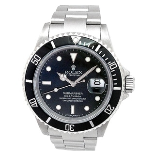 Pre-owned Rolex Men's Stainless Steel Submariner Watch Black Dial Style 16610