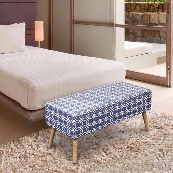 Storage Ottoman Bench 37 Inch Easy Lift Top Upholstered, Octagon Blue - Crown Comfort