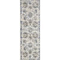 "Alexander Home Verona Grey/Navy/Ivory Microfiber Floral Rug - 2'7"" x 8'"