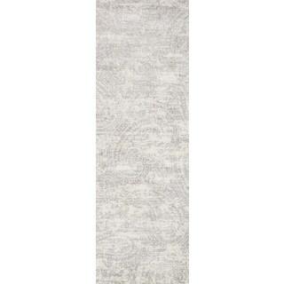 Alexander Home Microfiber Verona Grey/Cream Paisley Rug - 2'7 x 10'