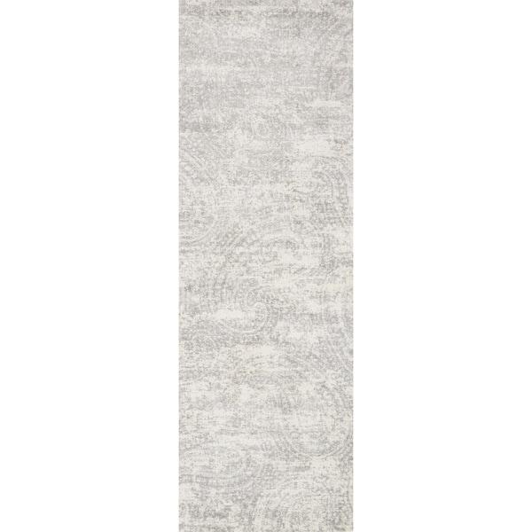 "Alexander Home Verona Grey/Cream Microfiber Paisley Runner Rug - 2'7"" x 8'"