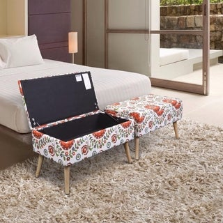 Crown Comfort Retro Floral Upholstered 30 Inch Easy Lift Top Ottoman Storage  Bench
