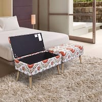 Storage Ottoman Bench 30 inch Easy Lift Top Upholstered - Retro Floral - White
