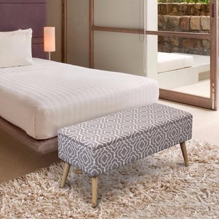 Crown Comfort Moroccan Grey Linen 37-inch Easy Lift Top Upholstered Ottoman Storage Bench