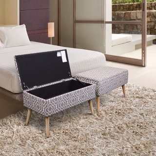 Storage Ottoman Bench 30 Inch Easy Lift Top Upholstered, Moroccan Grey - Crown Comfort