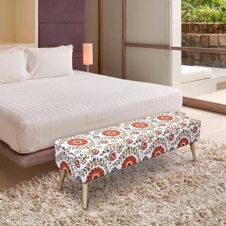 Storage Ottoman Bench 52 inch Easy Lift Top Upholstered - Retro Floral - White