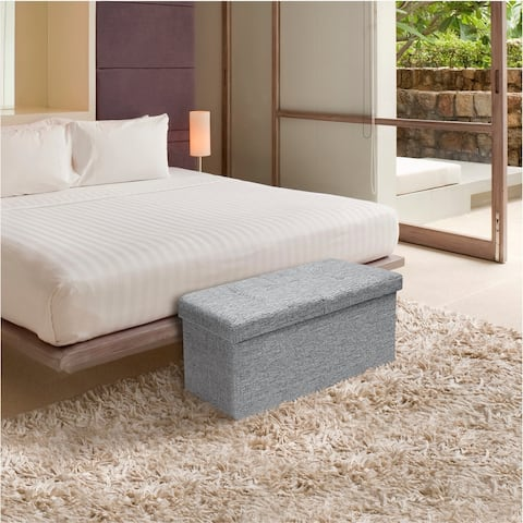 Storage Ottoman Bench 30 Inch Smart Lift Top Light Grey By Crown Comfort