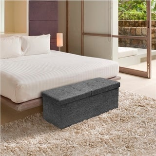 Storage Ottoman Bench 45 inch Smart Lift Top - Dark Grey
