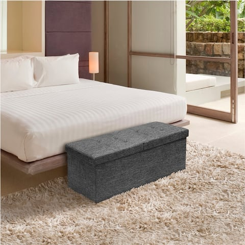 Storage Ottoman Bench 45 Inch Smart Lift Top Dark Grey By Crown Comfort