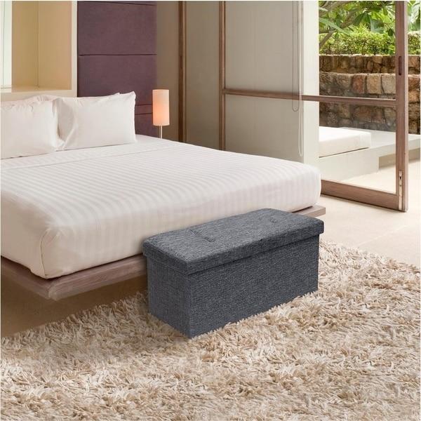 Storage Ottoman Bench 30 Inch Smart Lift Top, Dark Grey - Crown Comfort