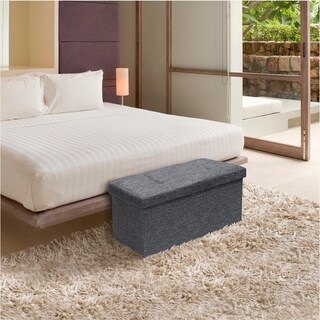 Storage Ottoman Bench 30 inch Smart Lift Top - Dark Grey