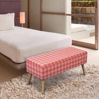 Crown Comfort Octagon Orange Wood, Metal, Linen, and Comfort Foam Upholstered 37-inch Ottoman Storage Bench With Easy-lift Top