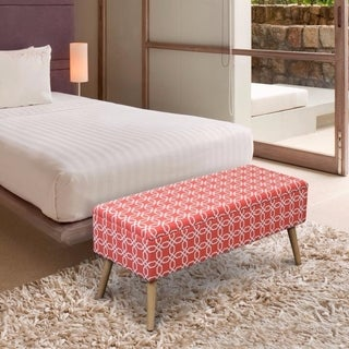 Storage Ottoman Bench 37 inch Easy Lift Top Upholstered - Octagon Orange