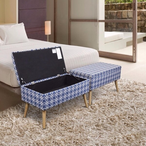 Storage Ottoman Bench 30 Inch Easy Lift Top Upholstered, Octagon Blue - Crown Comfort