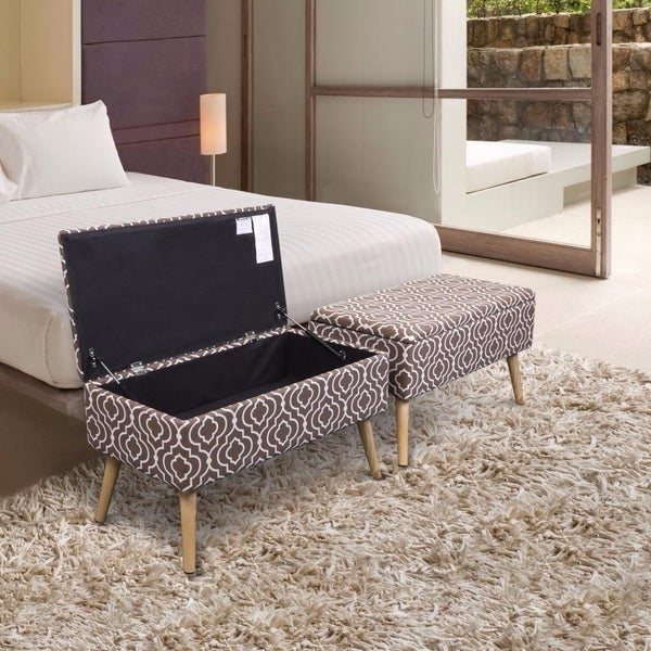 Storage Ottoman Bench 30 Inch Easy Lift Top Upholstered, Moroccan Brown - Crown Comfort