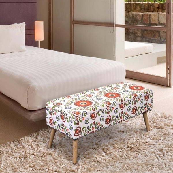 Storage Ottoman Bench 37 Inch Easy Lift Top Upholstered Retro Fl White