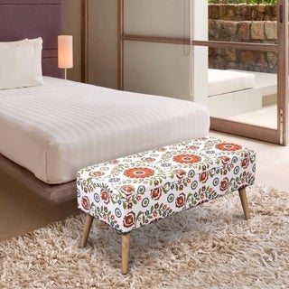 Crown Comfort Retro Floral Linen/Wood 37-inch Easy Lift Top Upholstered Ottoman Storage Bench