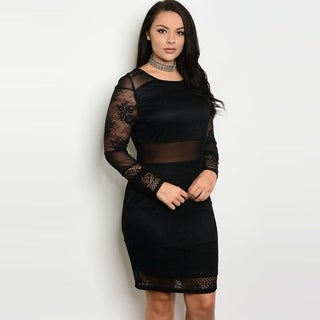 Shop The Trends Women's Plus Size Long Sheer Sleeve Bodycon Dress With Crew Neckline