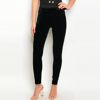 Shop The Trends Women's High Waisted Crushed Velvet Leggings With Elastic Waistband