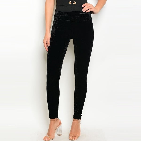 ec9a79189d1aca Shop The Trends Women's High Waisted Crushed Velvet Leggings With  Elastic Waistband