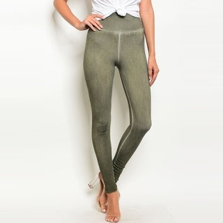 Shop The Trends Women's High Waisted Acid Wash Leggings With Elastic Waistband