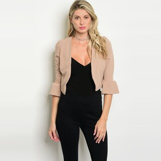 Shop The Trends Women's 3/4 Ruffle Cuff Sleeve Cropped Blazer With Open Front (2 options available)