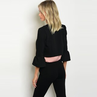 Shop The Trends Women's 3/4 Ruffle Cuff Sleeve Cropped Blazer With Open Front (More options available)