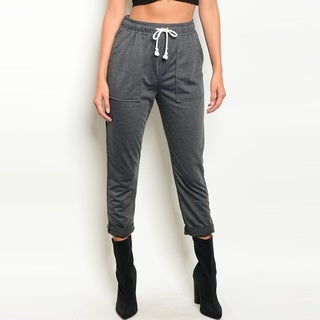 Shop The Trends Women's High Waisted Jogger Pants With Drawstring Tie
