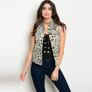 Shop The Trends Women's Sleeveless Vest With Allover Animal Print And Button Front Closure