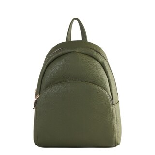 Diophy PU Leather Front Curved Zipper Pocket Backpack