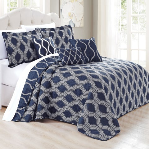 Serenta 6 Piece Charleston Printed Microfiber Quilts Coverlet Set, Dark Blue Cobalt