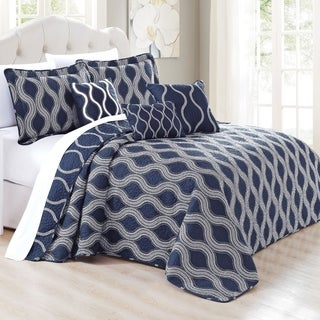 Serenta 6 Piece Charleston Printed Microfiber Quilts Coverlet Set, Dark Blue Cobalt