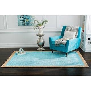 Jani Pina Cotton and Jute Blue Flatweave Rug - 5' x 7'