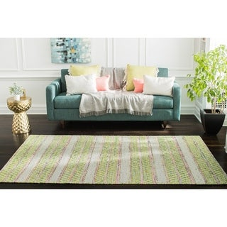Jani Sara Green and Pink Flatweave Rug - 5' x 8'
