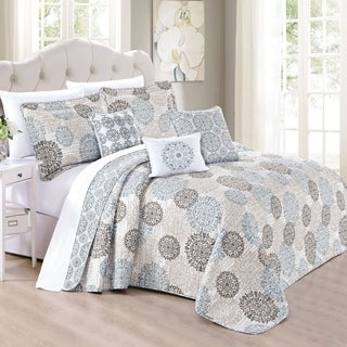 Serenta 6 Piece Marina MDLN Printed Microfiber Quilts Coverlet Set, Cameo Blue