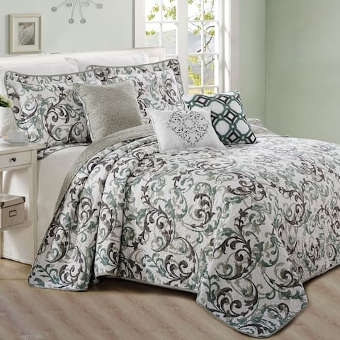 Serenta 6 Piece Ravello Scroll Printed Microfiber Quilts Coverlet Set