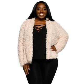Xehar Womens Plus Size Open Front Faux Fur Fuzzy Winter Coat Jacket
