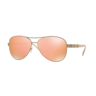 Burberry Women's Matte Rose/Gold-tone MetalAviator Sunglasses