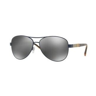 bd4ef6c6e9 Shop Burberry Women s BE3080 12346G 59 Matte Blue Aviator Sunglasses -  Silver - Free Shipping Today - Overstock - 18012681