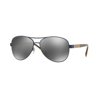 Burberry Women's BE3080 12346G 59 Matte Blue Aviator Sunglasses - Silver