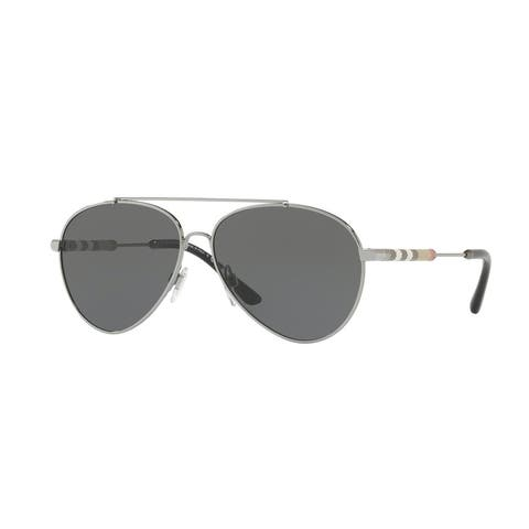 Burberry Women's BE3092Q 100387 57 Gunmetal Aviator Sunglasses - Grey