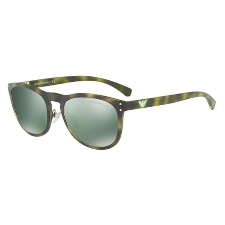 ef705e7b548a Shop Emporio Armani Women s EA4098 50266R 54 Light Green Mirror Petrol Oval  Sunglasses - Free Shipping Today - Overstock.com - 18012742