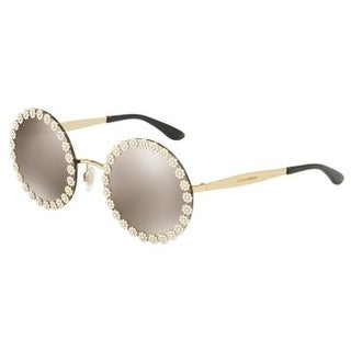 Dolce & Gabbana Women's DG2173B 02/5A 56 Light Brown Mirror Lens Gold Frame Round Sunglasses